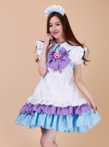 Cute Cat\\\'s Paw Bowknot Maid Lolita Short Sleeve Dress Set