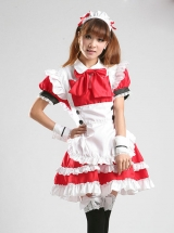 Cute Red White Maid Lolita Short Sleeve Dress Five Piece Set