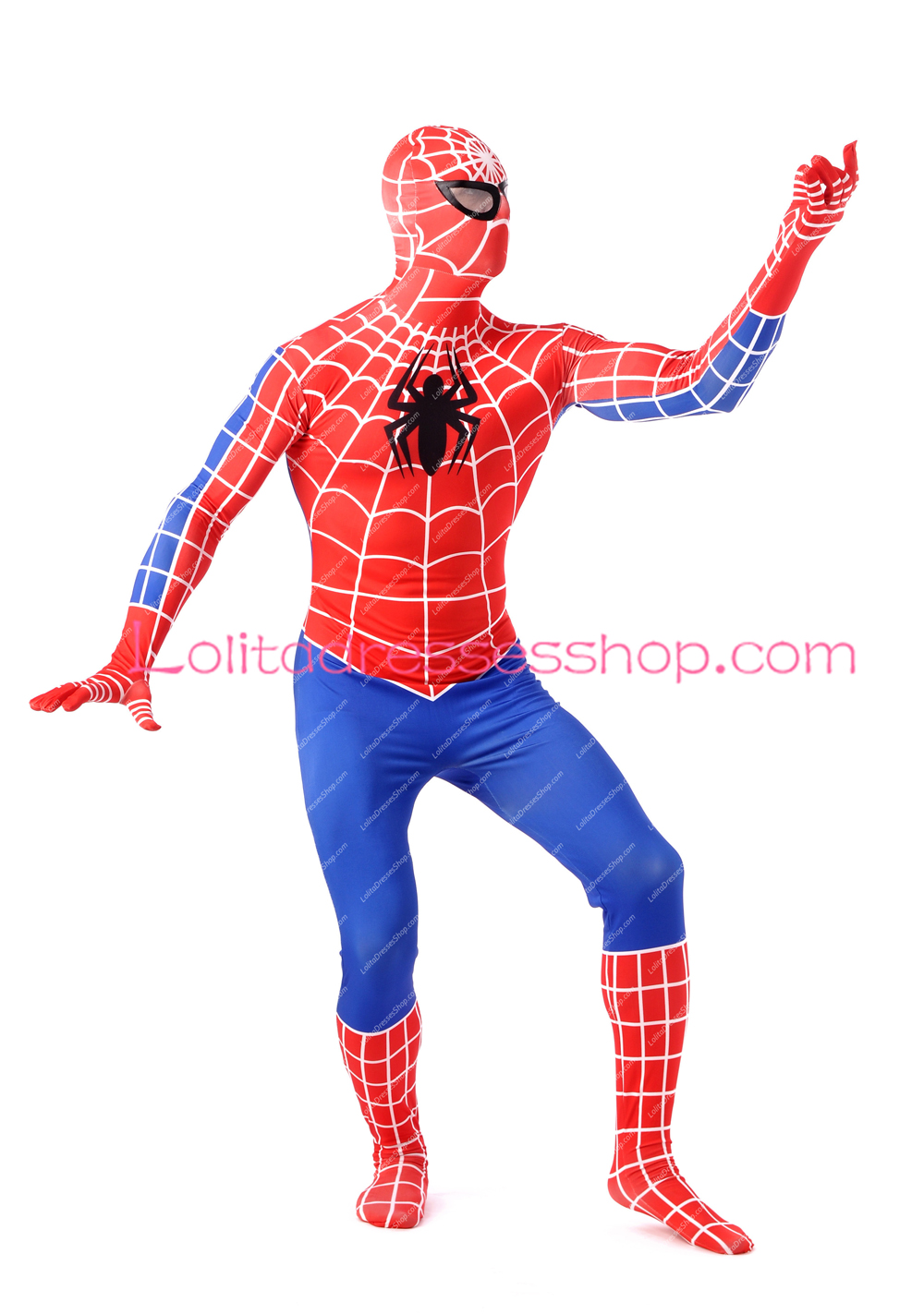 Red Lycra Inspired by Spiderman With White Stripe Full Boday Spandex Cosplay Costumes Zentai Suit