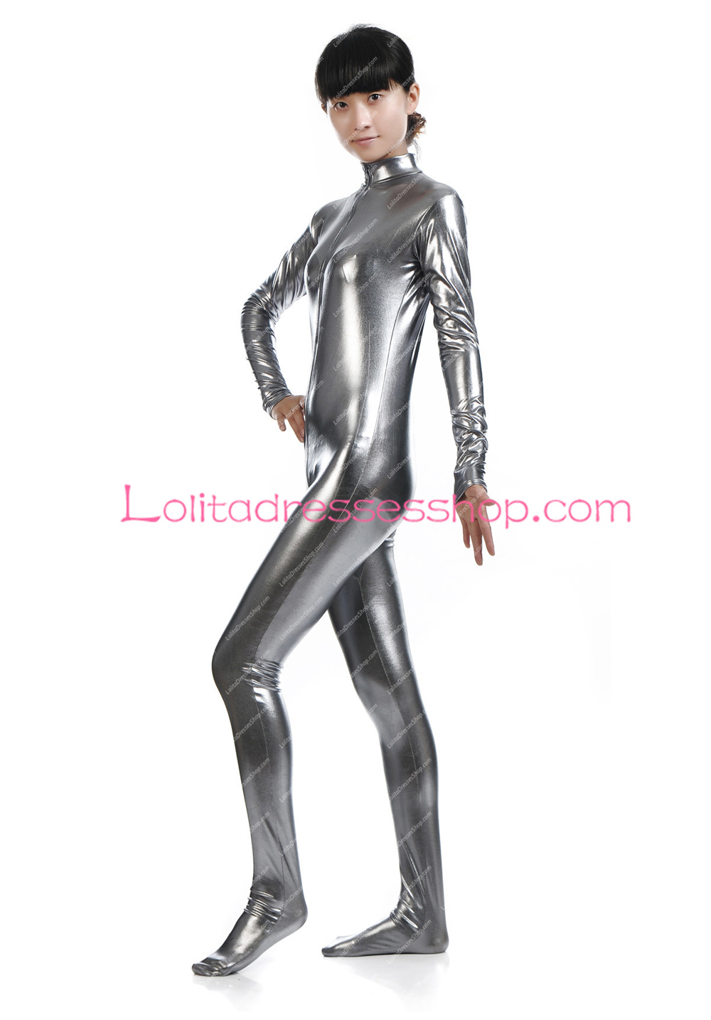 Grey Front Open Shiny Metallic Stage Show Costume Without Hood Zentai Suit