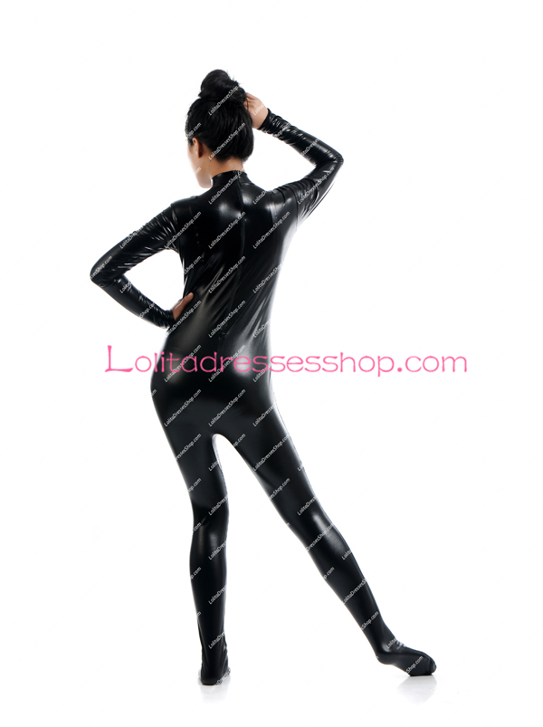 Black Shiny Metallic Stage Show Costume Full Boday Without Hood Zentai Suit